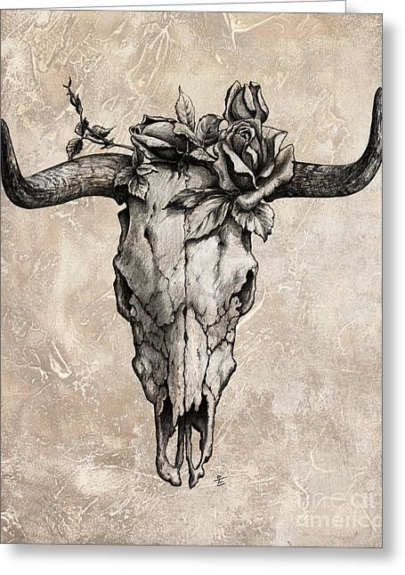 Graphite Greeting Cards - Bull Skull and Rose Greeting Card by Emerico Imre Toth