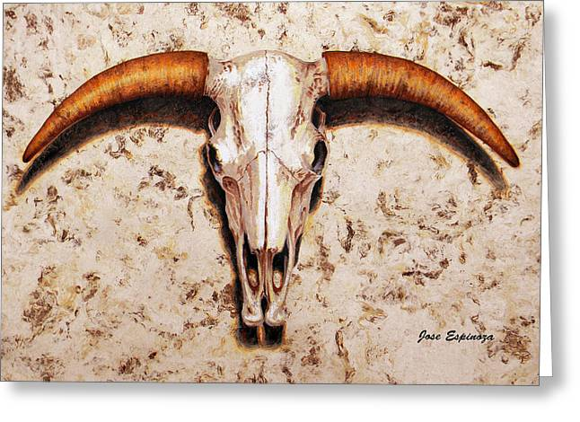 Amate Bark Paper Greeting Cards - Bull Skull Greeting Card by Jose Espinoza