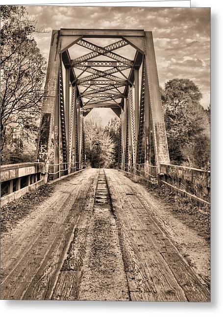 Old Country Roads Greeting Cards - Bull Slough Bridge in Sepia Greeting Card by JC Findley