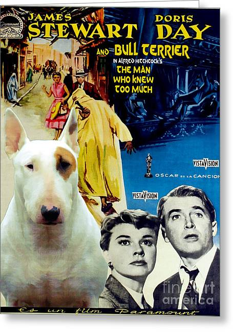 Man Who Knew Too Much Greeting Cards - Bull Terrier Art Canvas Print - The Man Who Knew Too Much Movie Poster Greeting Card by Sandra Sij