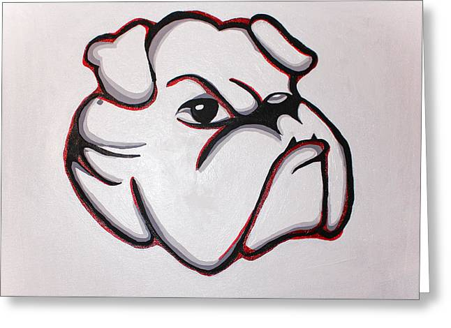 Fanatic Paintings Greeting Cards - Bulldawg Greeting Card by Brandy Nicole Neal