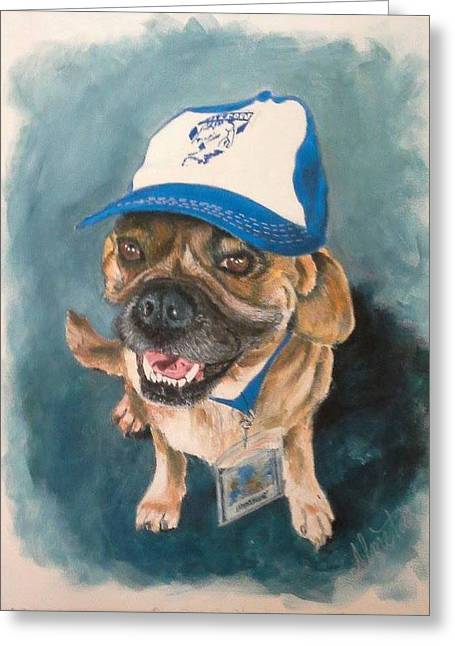 Footie Greeting Cards - Bulldog Greeting Card by Almeta LENNON