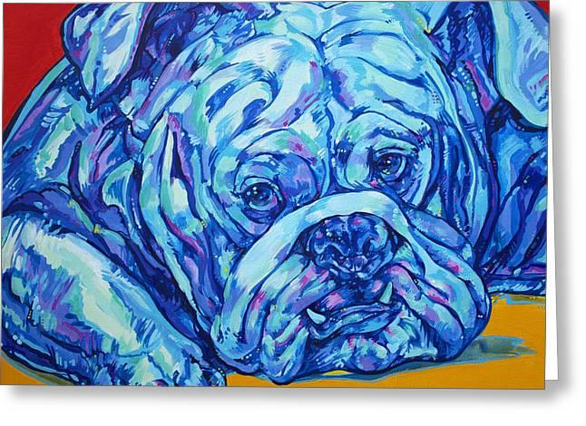 Mascot Paintings Greeting Cards - Bulldog Blues Greeting Card by Derrick Higgins