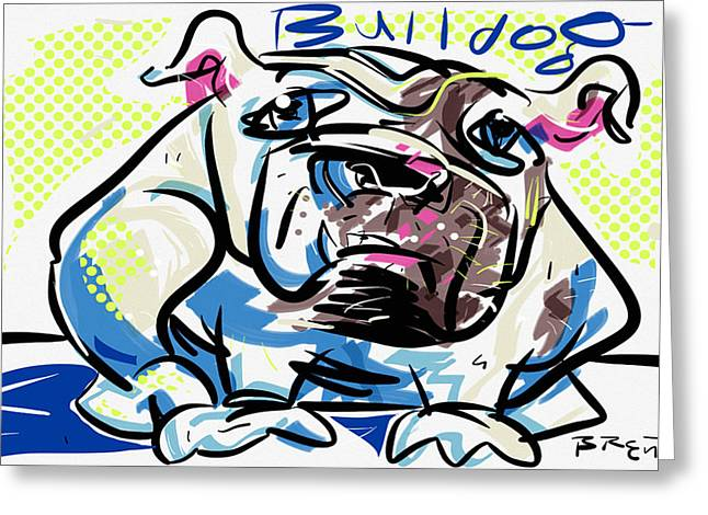 Hounds Tooth Greeting Cards - Bulldog Greeting Card by Brett LaGue