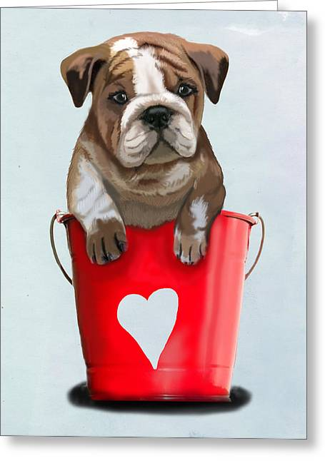 Canine Posters Greeting Cards - Bulldog Buckets of Love Greeting Card by Kelly McLaughlan
