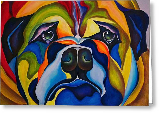 Bucci Paintings Greeting Cards - Bulldog Buddy Greeting Card by Debra Bucci