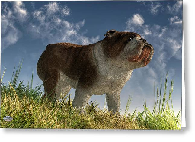 Dog Rescue Digital Art Greeting Cards - Bulldog Greeting Card by Daniel Eskridge