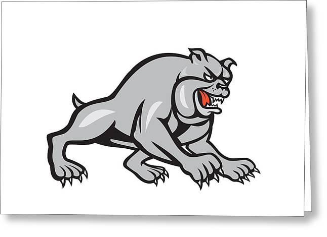 Bulldog Dog Mongrel Prowling Cartoon Greeting Card by Aloysius Patrimonio