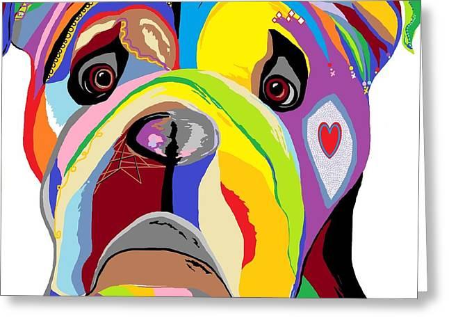 Puppies Digital Art Greeting Cards - Bulldog Greeting Card by Eloise Schneider