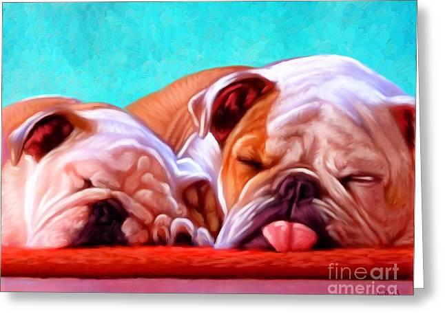 Bulldog Puppies Pictures Greeting Cards - Bulldog Greeting Card by Iain McDonald