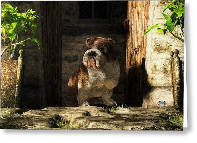 Dog Rescue Digital Art Greeting Cards - Bulldog in a Doorway Greeting Card by Daniel Eskridge