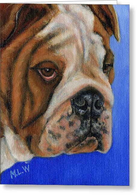 Michelle Wrighton Greeting Cards - Beautiful Bulldog Oil Painting Greeting Card by Michelle Wrighton