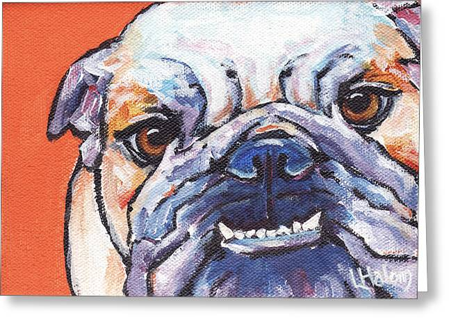 English Bulldog Portrait Greeting Cards - Bulldog Greeting Card by  Linda Halom