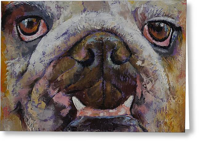 Bulldog Paintings Greeting Cards - Bulldog Greeting Card by Michael Creese