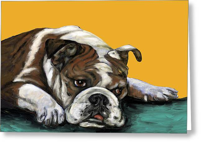 Bulldog Paintings Greeting Cards - Bulldog On Yellow Greeting Card by Dale Moses