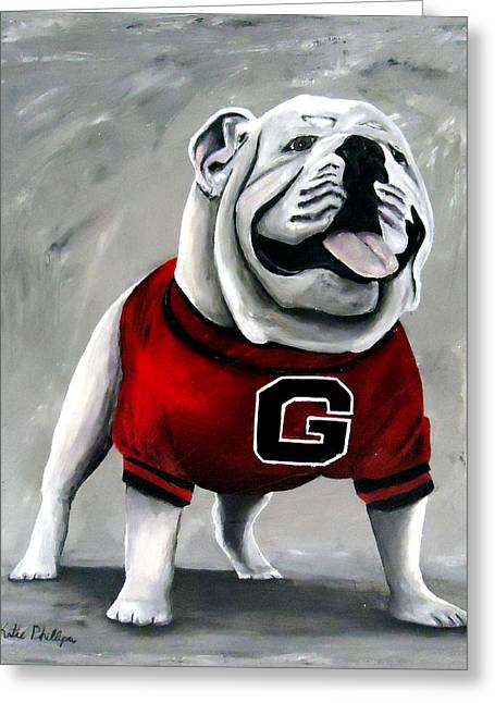 Mascots Paintings Greeting Cards - University of Georgia Bulldog painting - Damn Good Dawg Greeting Card by Katie Phillips