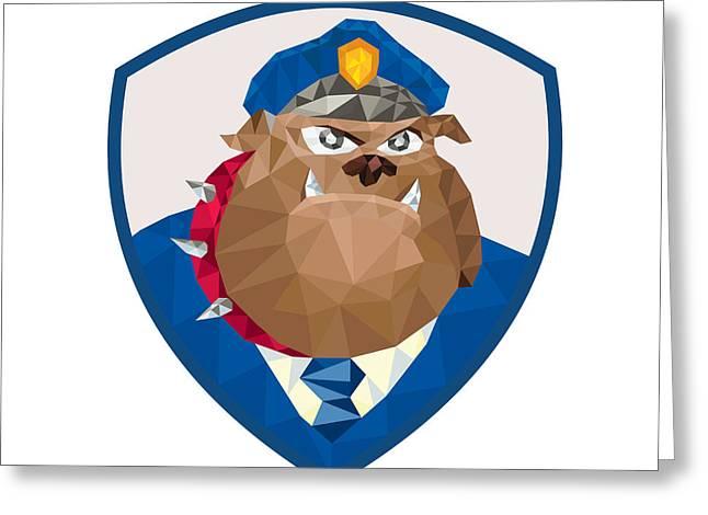 Guard Dog Greeting Cards - Bulldog Policeman Shield Low Polygon Greeting Card by Aloysius Patrimonio