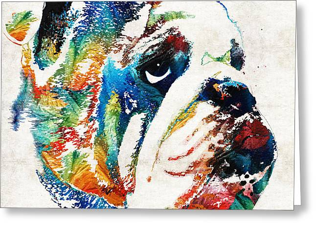 Rescued Animals Greeting Cards - Bulldog Pop Art - How Bout A Kiss - By Sharon Cummings Greeting Card by Sharon Cummings