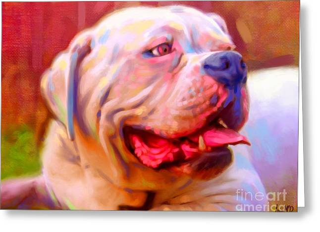 Bulldog Puppies Pictures Greeting Cards - Bulldog Portrait Greeting Card by Iain McDonald