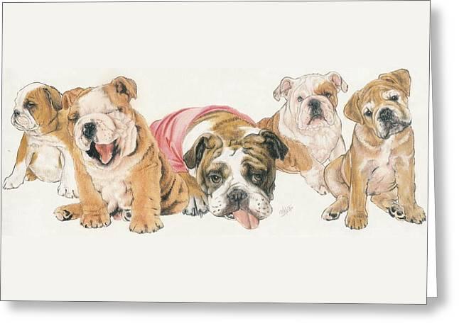 Bulldog Puppies Greeting Card by Barbara Keith