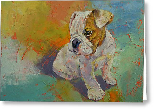 Bulldog Pet Portraits Greeting Cards - Bulldog Puppy Greeting Card by Michael Creese