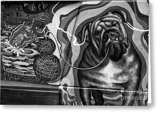 Smoker Greeting Cards - Bulldog Thoughts mono Greeting Card by John Rizzuto
