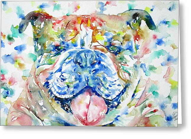 English Bulldog Portrait Greeting Cards - BULLDOG - watercolor portrait Greeting Card by Fabrizio Cassetta