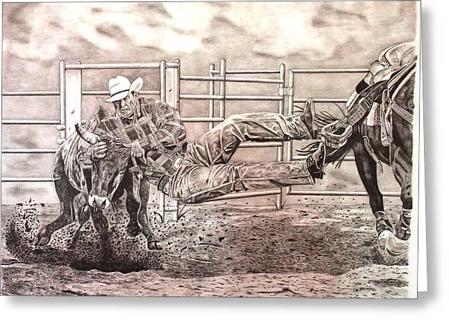 Steer Drawings Greeting Cards - Bulldogging  Greeting Card by Randy Mitchell