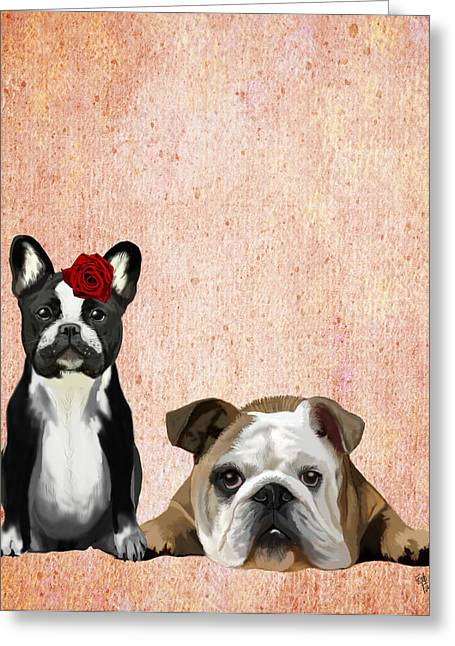 Canine Framed Prints Greeting Cards - Bulldogs French and English Greeting Card by Kelly McLaughlan