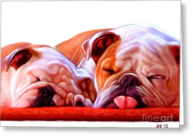 Bulldog Puppies Pictures Greeting Cards - Bulldogs Greeting Card by Iain McDonald