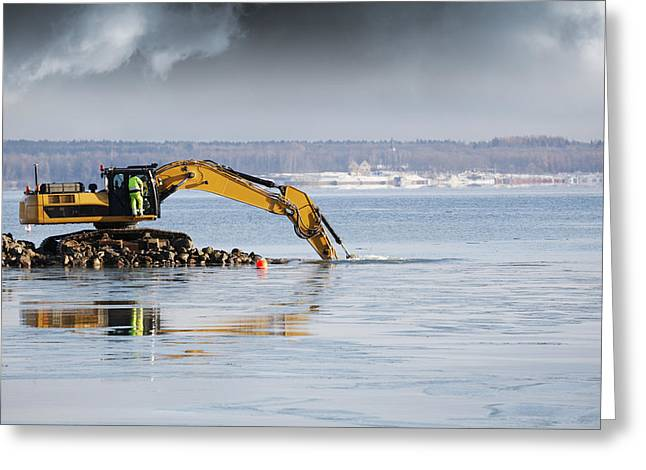 Bulldozer Greeting Cards - Bulldozer Excavating In The Sea Greeting Card by Christian Lagereek