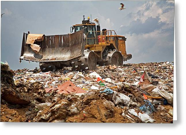 Bulldozer On A Landfill Site Greeting Card by Jim West