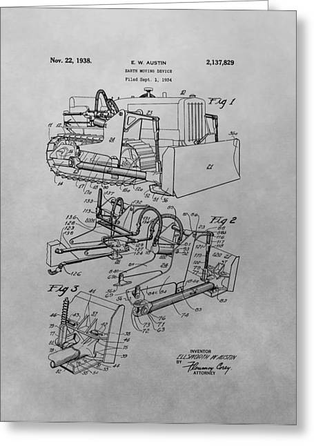 Bulldozer Patent Drawing Greeting Card by Dan Sproul