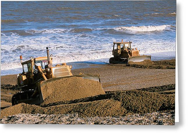 Bulldozers Rebuilding Beach Greeting Card by Ashley Cooper