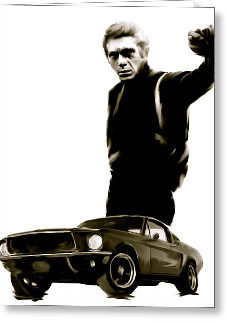 Legend Drawings Greeting Cards - Bullet Cool  Steve McQueen Greeting Card by Iconic Images Art Gallery David Pucciarelli