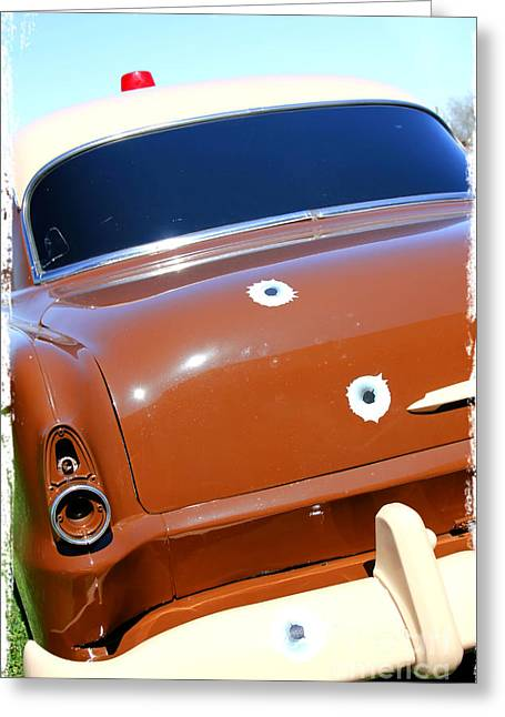 Police Car Greeting Cards - Bullet Holes in Old Police Car Greeting Card by Sophie Vigneault