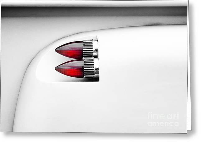 Monochrome Hot Rod Greeting Cards - Bullet Lights  Greeting Card by Tim Gainey