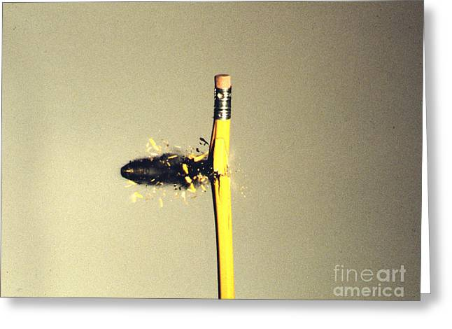 High Speed Photography Greeting Cards - Bullet Piercing Pencil Greeting Card by Gary S. Settles