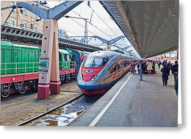 Train Photography Greeting Cards - Bullet Train At A Railroad Station, St Greeting Card by Panoramic Images