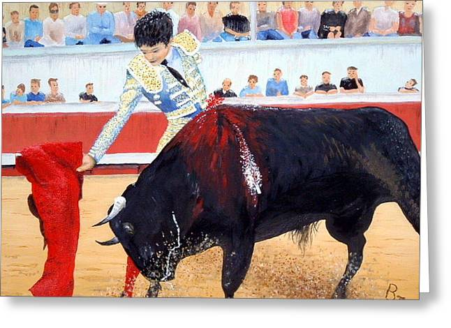 Toreador Paintings Greeting Cards - Bullfight in Nimes Greeting Card by Barbara Jacquin