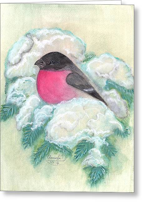 Anna Maciejewska-dyba Greeting Cards - Bullfinch Greeting Card by Anna Folkartanna Maciejewska-Dyba
