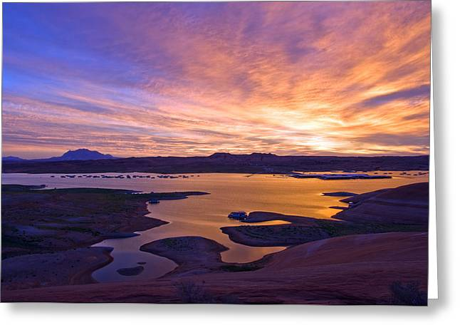 Colorful Cloud Formations Greeting Cards - Bullfrog Marina Sunrise  Greeting Card by Eric Rundle