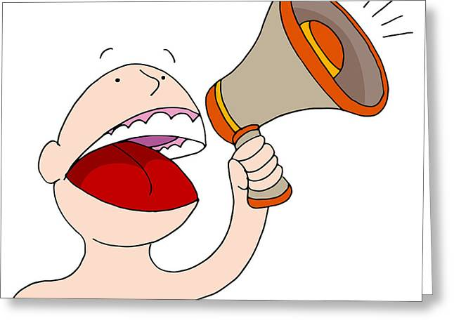 Announcer Greeting Cards - Bullhorn Announcer Greeting Card by John Takai