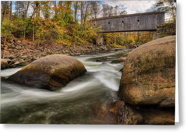 Southern New England Greeting Cards - Bulls Bridge Autumn Greeting Card by Bill  Wakeley