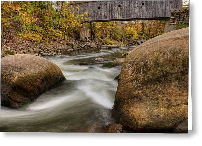 Covered Bridge Greeting Cards - Bulls Bridge Autumn Square Greeting Card by Bill  Wakeley