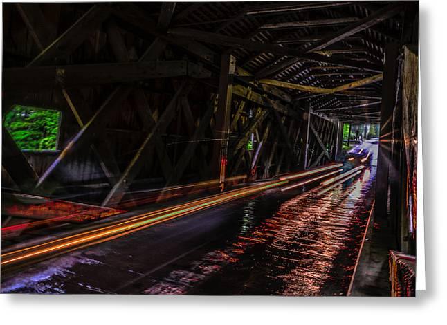 Covered Bridge Greeting Cards - Bulls Bridge Interior Greeting Card by Randy Scherkenbach