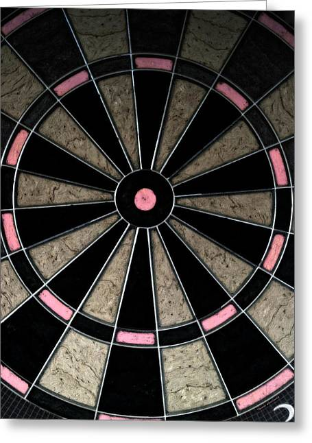Dartboard Greeting Cards - Bulls Eye In Pink Greeting Card by Thomas Woolworth