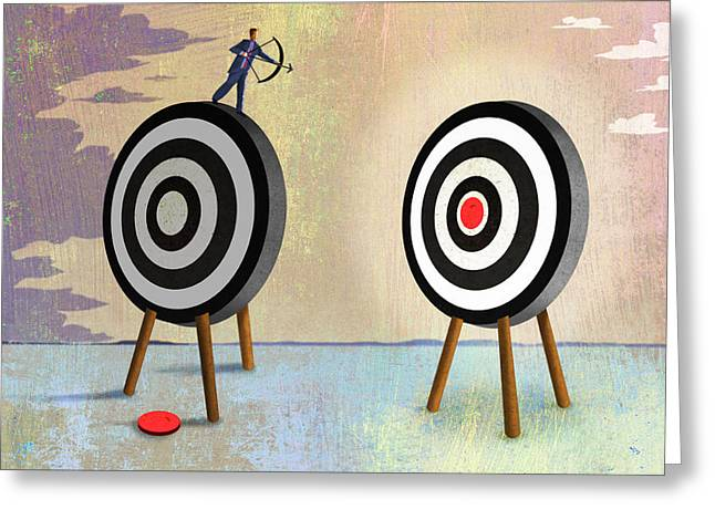Desire Ambitious Greeting Cards - Bulls-eye Greeting Card by Steve Dininno