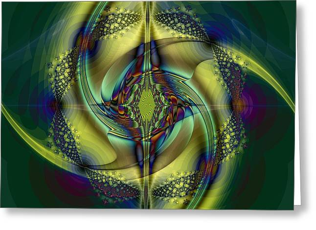 Fractal Orbs Greeting Cards - Bullseye Greeting Card by Elizabeth McTaggart