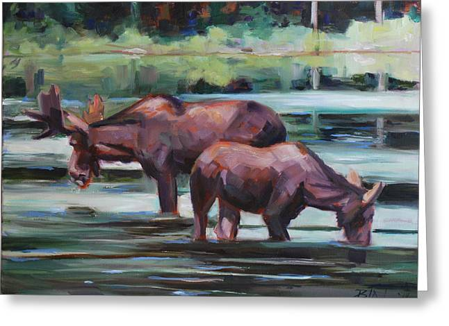 Moose In Water Greeting Cards - Bullwinkle and Friend Greeting Card by Billie Colson